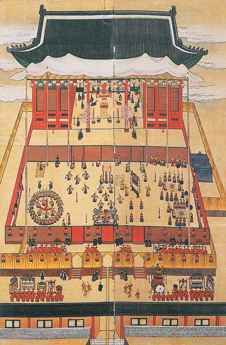 "A painting of ""yajinchan,"" a banquet to celebrate the 80th birthday of Grand Royal Dowager Queen Sinjeong in 1887 at the Mangyeongjeon Hall, Gyeongbok Palace. A royal banquet incorporates dance, music, performance, attire, table setting, lighting and flower decorations, demonstrating the comprehensive art of the Joseon Kingdom (1392-1910). / Courtesy of Institute of Korean Royal Cuisine"