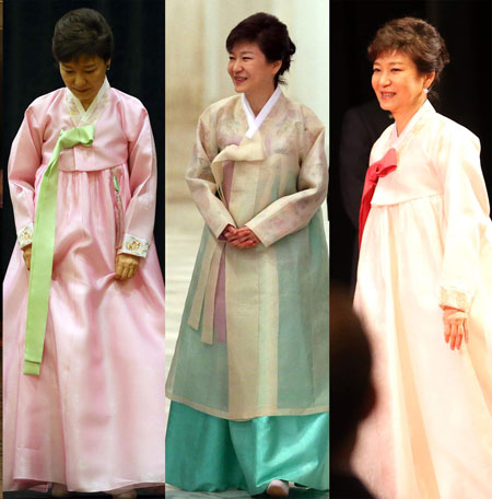 "The ""hanbok"" that President Park Geun-hye wore during her visit to the United States in May were designed by Kim Young-seok.  / Korea Times file"