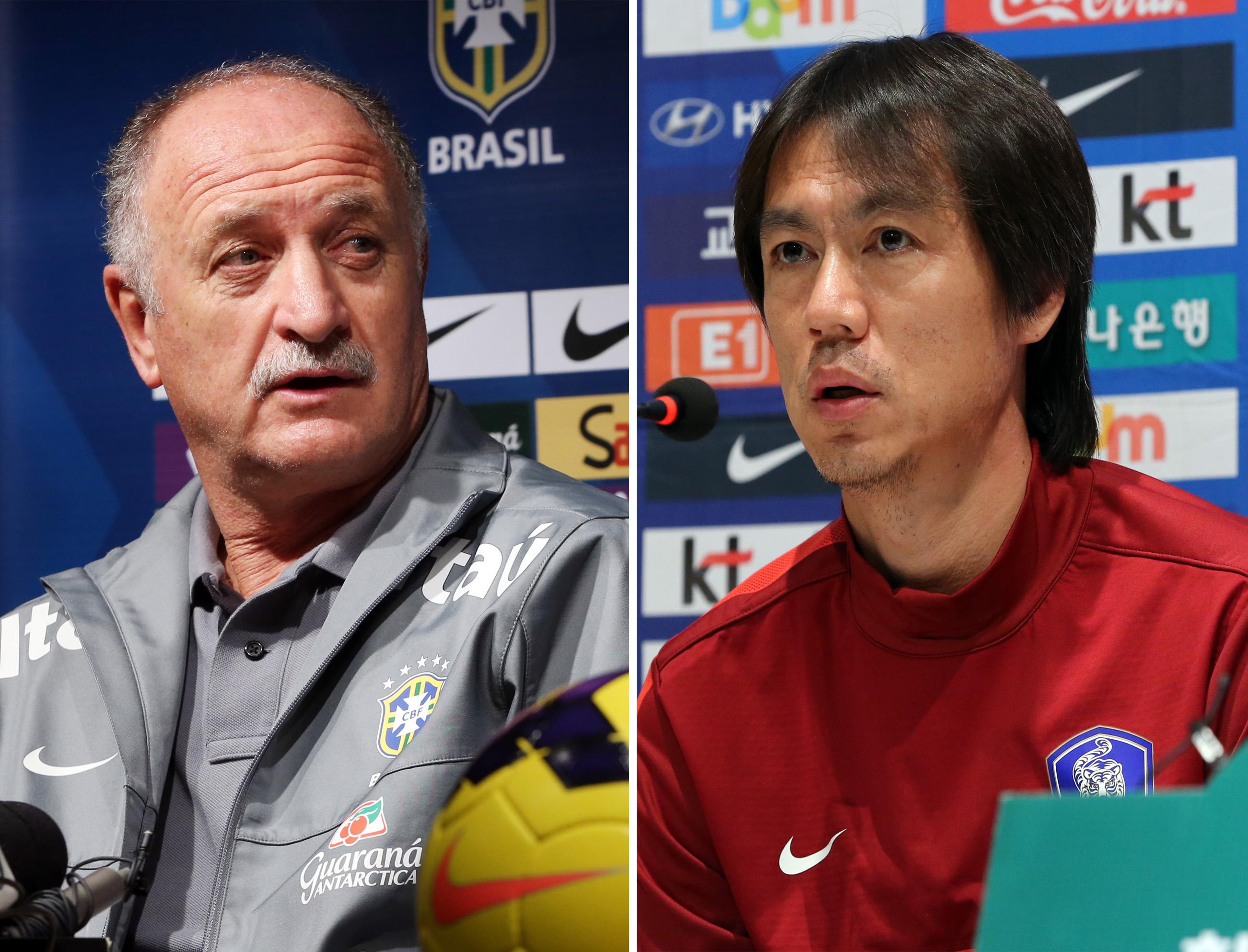 Brazil manager Luiz Felipe Scolari(left), and Korean skipper Hong Myung Bo will clash on Saturday night in Korea. (Yonhap)