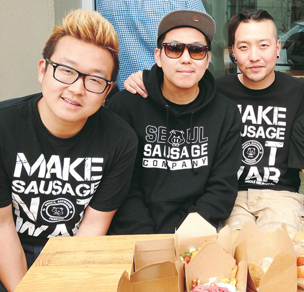 Yong(from left) and Ted Kim, and the chef Chris Oh. (Korea Times File)