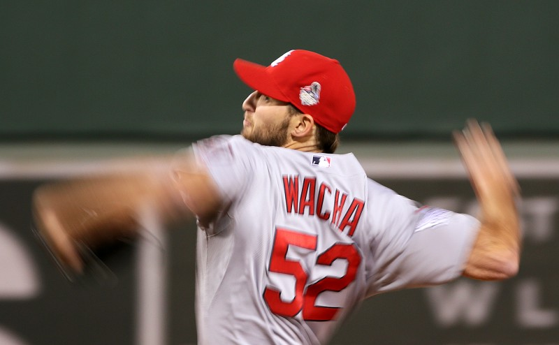 The Cardinals pitcher Michael Wacha's arms probaby looked this way to Red Sox hitters on Thursday, Oct. 24, 2013, at Fenway Park in Boston.  (AP Photo/St. Louis Post-Dispatch, Chris Lee)