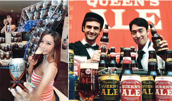 "7Brau, a domestic microbrewery, and Hite, maker of the country's first mass-produced ale, ""Queen's Ale,'' are leading the efforts to diversify the Korean beer market, which had been dominated by watery local lager.  / Korea Times"