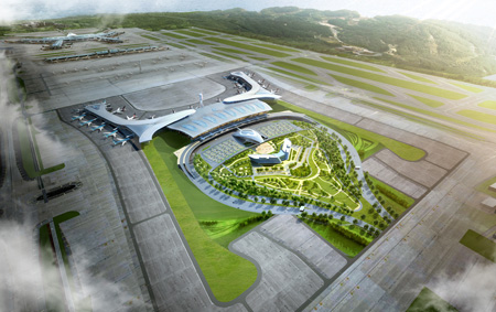 An aerial view of the design concept for the second terminal of Incheon International Airport. The airport operator plans to finish the construction of the new terminal by 2017.