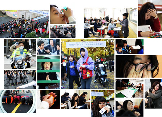 Images of exam day (Yonhap / Korea Times photo by Shim Hyun-chul)