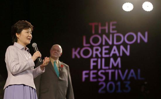 Korean President Park Geun-hye speaks at the opening ceremony of the London Korean Film Festival 2013 last week. / Yonhap
