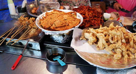 """Odeng"" (fish cakes), fried vegetable pancakes and squid fritters."