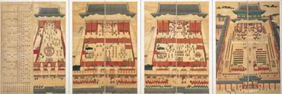 "A folding screen titled ""Fifty-ninth Birthday Banquets for Elder Queen Mother Sunwon, 1848"" is exhibited at the San Francisco Asian Art Museum. The ""In Grand Style: Celebrations in Korean Art during the Joseon Dynasty"" exhibition will continue through Jan. 12, 2014.  / Courtesy of National Museum of Korea"