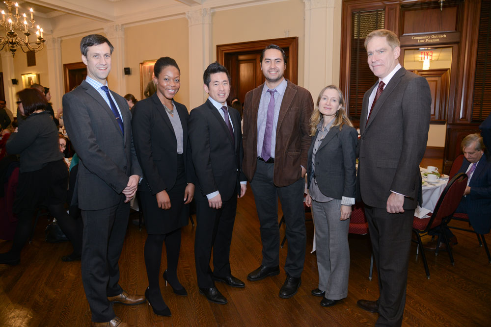 Left to Right: McGregor Smyth, Executive Director of New York Lawyers for the Public Interest (NYLPI); Shena Elrington, Director of the Health Justice Program, NYLPI, who presented the award to Mr. Choi; Steven Choi, Executive Director of the New York Immigration Coalition; Jonathan Westin, Executive Director of New York Communities for Change; Christina Giorgio, Staff Attorney, NYLPI, who presented the award to Jonathan Westin; Lawrence T Gresser, Board Chair-Elect, NYLPI. (Photo - Rick Kopstein)