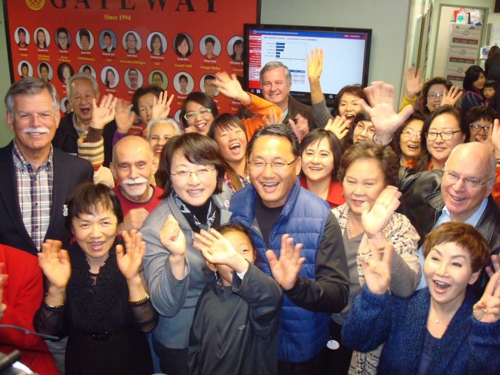 Soo Yoo and her supporters were all smiles as the election results came in.