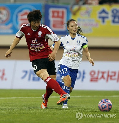 Park Eun-seon, left, scored 19 goals for Seoul City Hall squad this year. (Yonhap)