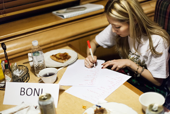 Boni checks her performance schedule during a festival for the U.S. Forces Korea in Seoul on Oct. 19.