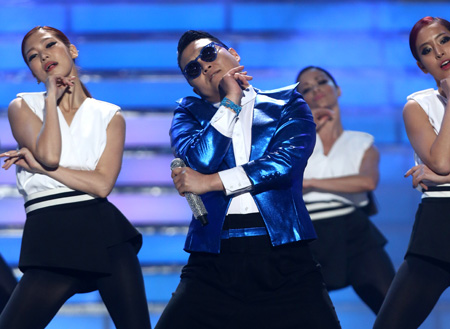 "Psy performs at the ""American Idol"" finale at the Nokia Theatre at L.A. Live on May 16, 2013."