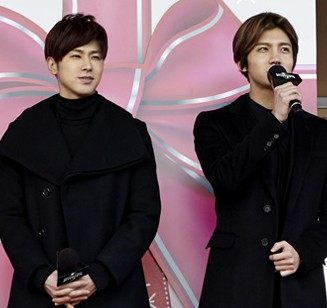 TVXQ members appear at the Universal Studios Japan in Osaka on Dec. 12. (Courtesy of SM Entertainment)