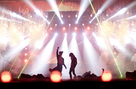 TVXQ poses after a song during their 10th anniversary concert.  (Courtesy of SM Entertainment)