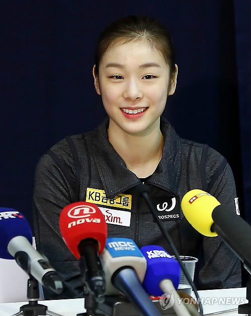 Olympic athlete Yuna Kim attends the Golden Spin of Zagreb press conference at Dom Sportova arena on November 04, 2013  IN ZAGREB, CROATIA (YONHAP)