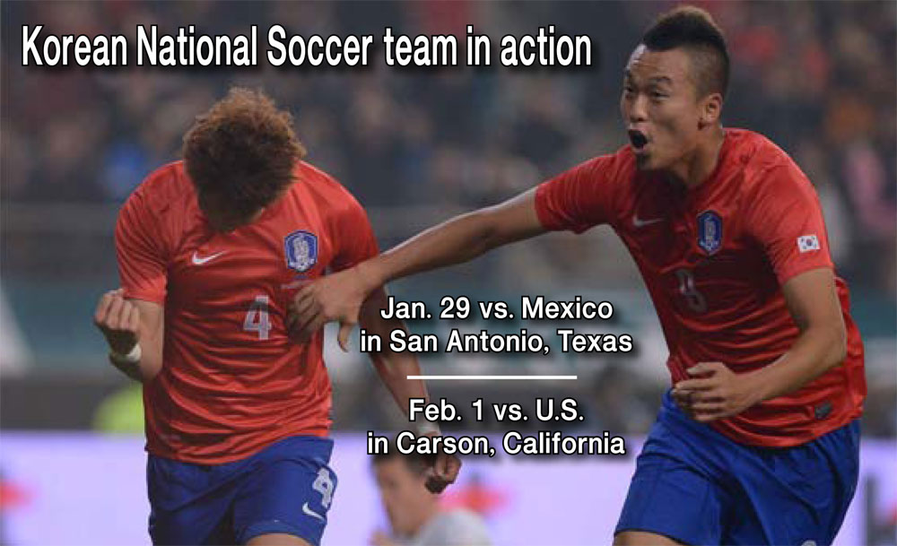 Korean soccer fans in Los Angeles will get to see Hong Jung-ho, left, and Kim Shin-wook in action upclose early next year.
