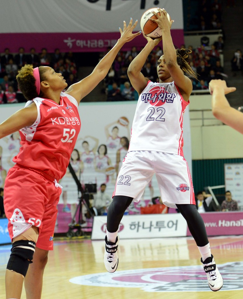 Monica Wright, right, was averaging 10.2 points and 3.7 rebounds while playing less than 14 minutes per game. (Newsis)