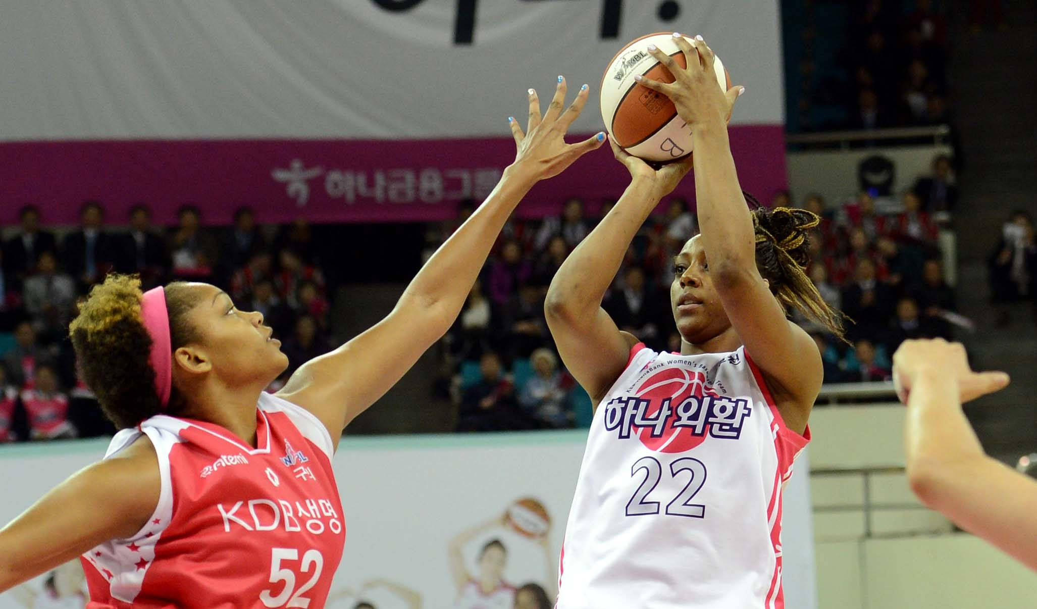 KEB-Hana Bank has gone 1-1 since Monica Wright, right,  abruptly left the team.