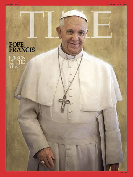 Pope Francis named Time magazine's Person of the Year 2013. (Courtesy of The Huffington Post)