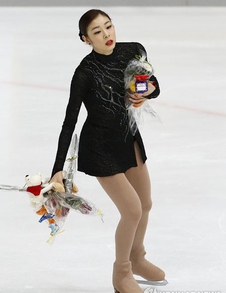 "After all, two-time world figure skating champion Kim Yu-na, the ""Ice Queen"" with a perfect stage presence, is only human, saying that she is not a natural born talent, and neither is she always perfect. (Yonhap)"
