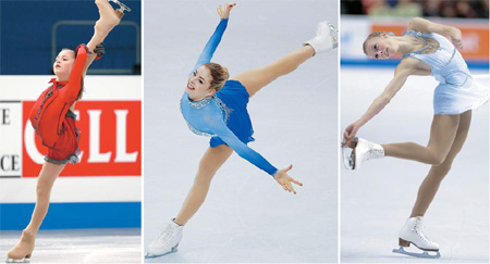 Freshly-crowned European champion Julia Lipnitskaia, U.S champion Gracie Gold and Polina Edmunds, a runner-up at the U.S. national, are eyeing the podium at Sochi Games. (AP-Yonhap)