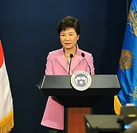 South Korean President Park Geun-hye listens to a journalist during her New Year's press conference at the presidential Blue House in Seoul, South Korea, on Monday, Jan. 6, 2014. Park called for resuming reunions of families separated by the Korean War in the early 1950s. (AP /Yonhap)