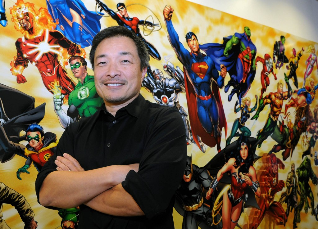 Jim Lee stands in front of a wall at his Burbank studio. (Park Sang-hyuk)