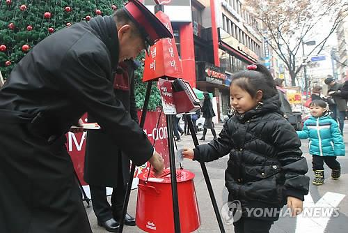 South Korea's Salvation Army said it brought in more than 6.3 billion won (US$5.97 million) through its annual red kettle campaign in December, which is all time high since their operation began back on 1928 in Korea.  The Salvation Army Korea Territory collected the money through its year-end street, online, ARS and other campaigns, which closed on Tuesday.  Although the street collection is over, the charity will continue to receive donations for the 2013-2014 campaign that ends Oct. 31, this year, with the goal of collecting 10 billion won. (Yonhap)