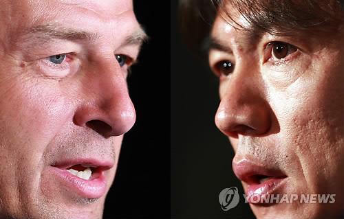 U.S. manager Jurgen Klinsmann, left, and Korea's boss Hong Myung-bo. (Yonhap)