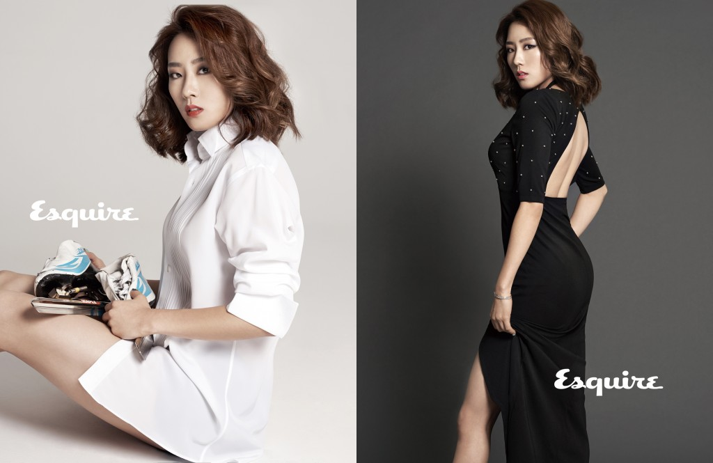 Speed skater Lee Sang-hwa shows off her feminine side in Esquire magazine photo shoot. (Esquire magazine-Yonhap)