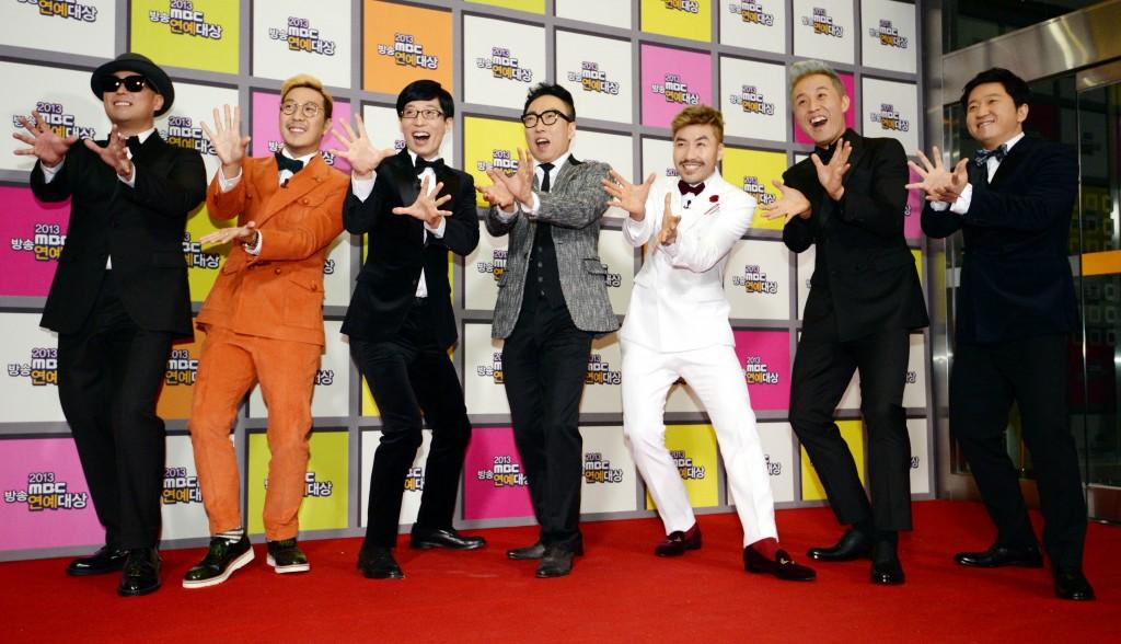 Cast of Infinite Challenge (from left) - Gil, Ha Ha, Yoo Jae-suk, Park Myeong-soo, Noh Hong-chul, Jeong Jun-ha, Jeonng Hyung-don. (Newsis)