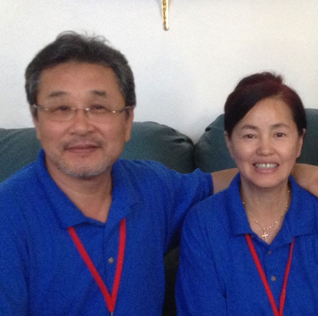 Pastor David Bin Kim, left, and his wife are working to bring people with similar experiences together.