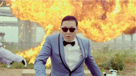 A footage of Psy's Gangnam Style music video which recorded 1.6 billion views on Youtube. (Courtesy of soshitech.com)