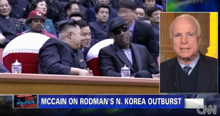 The U.S. Republican Senator John McCain, on right,  criticized the former NBA player Dennis Rodman's moves in North Korea during his CNN interview on Tuesday. / Courtesy of CNN  Tuesday. / Courtesy of CNN