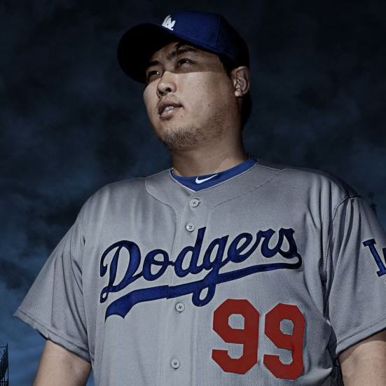 The Los Angeles Dodgers released  photos of their new alternate road uniform with Ryu Hyun-jin as one of the models. (Dodgers Photo)