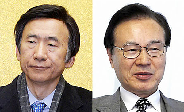 Korean Foreign Minister Yun Byung-se, left, and Japan's security chief Shotaro Yachi. (Korea Times file)