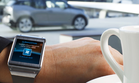 Samsung Electronics recently formed a partnership which BMW, which allows the German carmaker's i3 electric vehicle to interact with Galaxy Gear smartwatches. (Courtesy of Samsung Electronics)