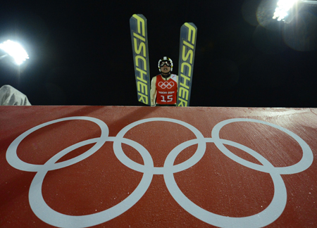 Korean ski jumper Kim Hyun-ki practices at the RusSki Gorki Jumping Center in Sochi, Russia, on Friday. (Courtesy of AP, Yonhap, AFP)