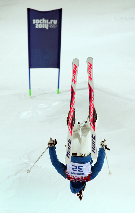 Korea's Seo Jee-won competes during the first qualification round in the women's mogul at Rosa Khutor Extreme Park.