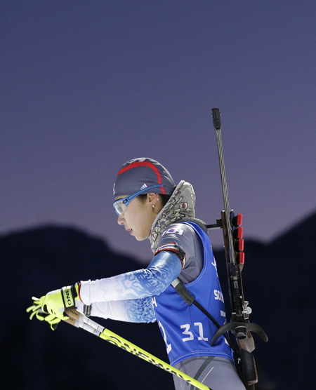Korea's Mun Ji-hee skis during a biathlon training session at Krasnaya Polyana.