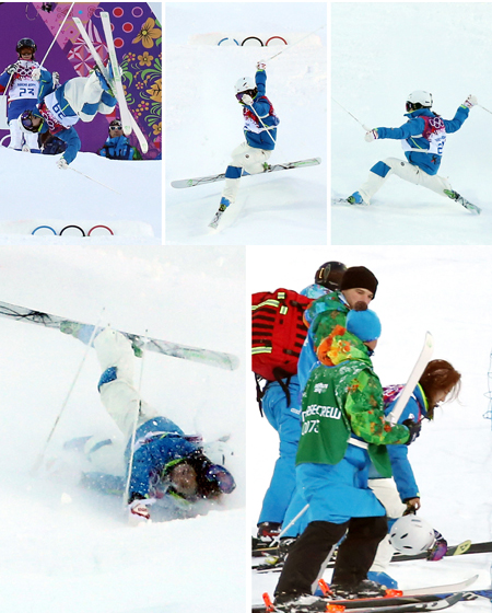 Korean mogul skier Seo Jung-hwa is treated by medical staff after falling on her landing during a practice run at Rosa Khutor Extreme Park in Sochi, Russia, on Friday (KST). After undergoing tests at a local hospital, she was cleared for Saturday's second qualification round. (Yonhap)