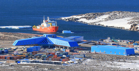 Seen above is the Antarctic Jang Bogo Station in Terra Nova Bay, South Pole. Korea became the world's 10th country to run more than one year-round research center in the Antarctic with the completion of the new research base. (Yonhap)