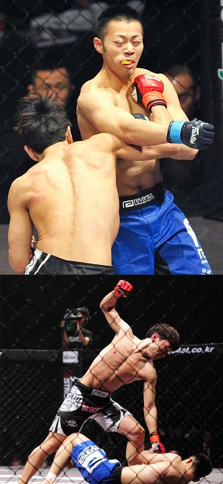 Yoon Hyung-bin throws right hook at Tsukuda Takaya, knocking him down to give him some more pounding and take over the match. (Courtesy of inews24.com)