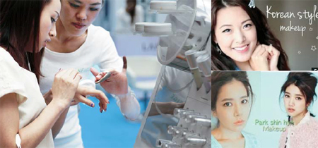"In the left photo, Singaporean customers try out Laneige's BB Cushion, Korea's top cosmetic firm AmorePacific's best selling beauty product in the Asian region. Right shows YouTube websites that provide various ""Korean makeup"" tutorials."