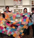 "Korean-born textile artist Lee Young-min, second from right, shows a ""bojagi"" (wrapping cloth) along with her pupils at the Los Angeles County Museum of Art (LACMA). (Courtesy of Lee Young-min)"