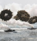 South Korean marine LVT-7 landing craft sail to shores through smoke screens during the U.S.-South Korea joint military exercises called Ssangyong,  part of the Foal Eagle military exercises, in Pohang, South Korea, Monday, March 31, 2014.  South Korea said North Korea has announced plans to conduct live-fire drills near the rivals' disputed western sea boundary. The planned drills Monday come after an increase in threatening rhetoric from Pyongyang and a series of rocket and ballistic missile launches in an apparent protest against the annual military exercises by Seoul and Washington.(AP Photo/Ahn Young-joon)