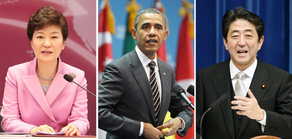 South Korean President Park Geun-hye will hold three-way talks with U.S. President Barack Obama and Japanese Prime Minister Shinzo Abe next week. (Yonhap)