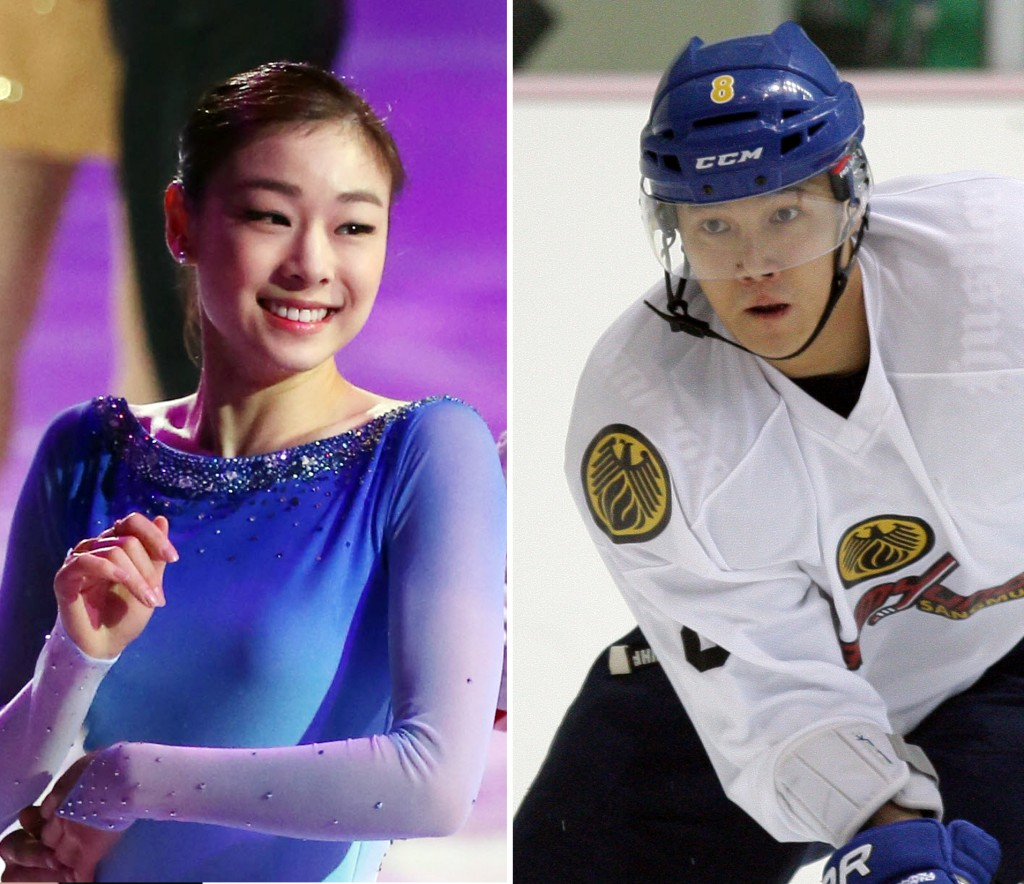 Kim Yuna's camp confirmed that she's been dating an ice hockey player Kim Won-jung, right.  (Yonhap)