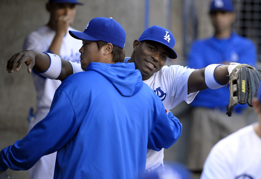 Yasiel Puig seems to get along with Ryu Hyun-jin just fine.