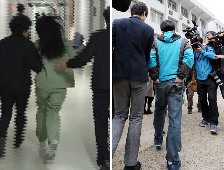 The Daegu District Court sentenced a 35-year-old woman identified as Lim, left,  to 10 years behind bars for repeatedly beating her eight-year-old girl for a year before her death. The girl's biological father, right, received 3 years. (Yonhap)